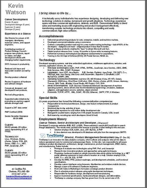 Kevin's recruiter resume