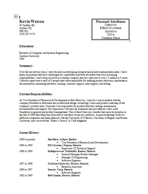Kevinu0027s Original Resume  How Does A Resume Look