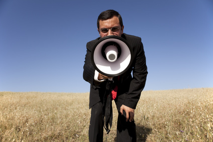 Man with bullhorn
